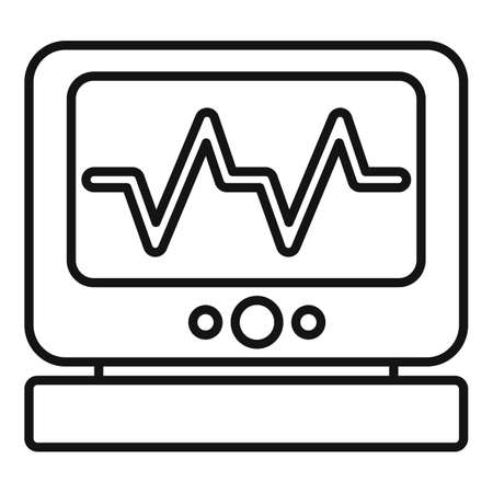Clinic heart rate monitor icon, outline style