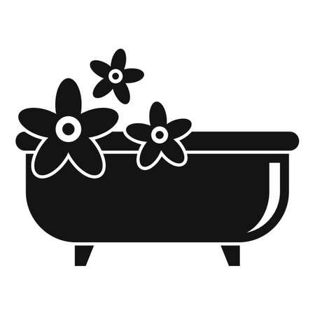 Medicinal herbs bathtub icon, simple style