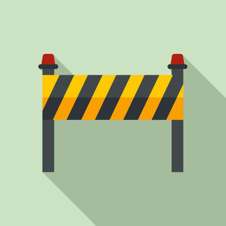 Road construction barrier icon, flat style