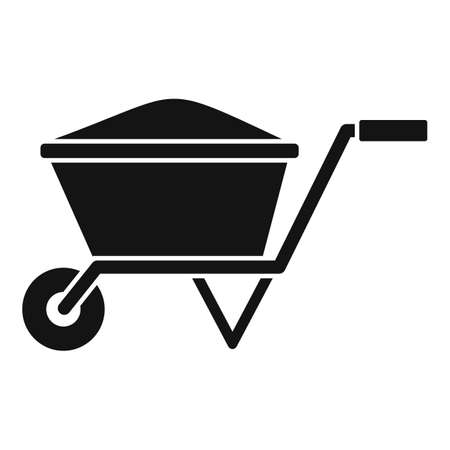 Construction wheelbarrow icon, simple style Illustration
