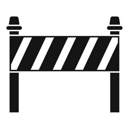 Road construction barrier icon, simple style
