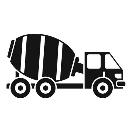 Cement mixer truck icon, simple style