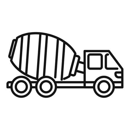 Cement mixer truck icon, outline style