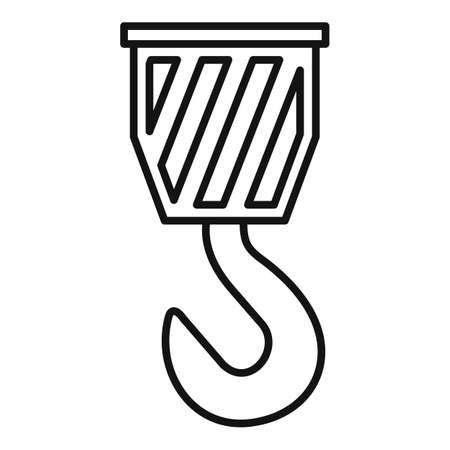 Crane hook icon, outline style