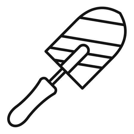 Brick trowel icon, outline style 일러스트