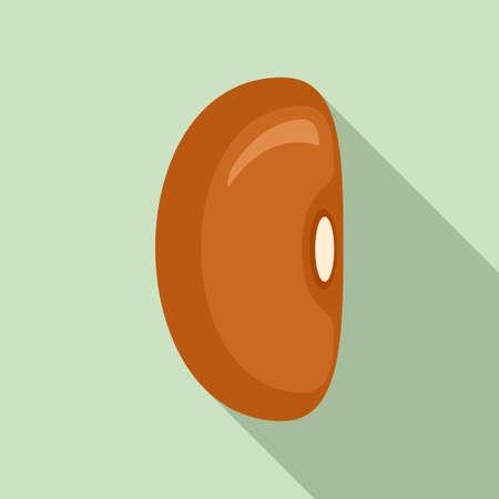 Haricot kidney bean icon, flat style Illustration