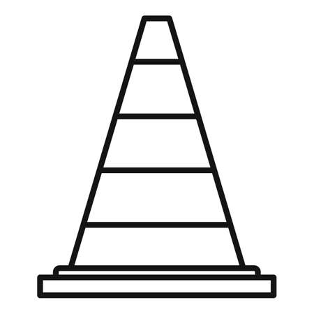 Road cone icon, outline style Ilustracja