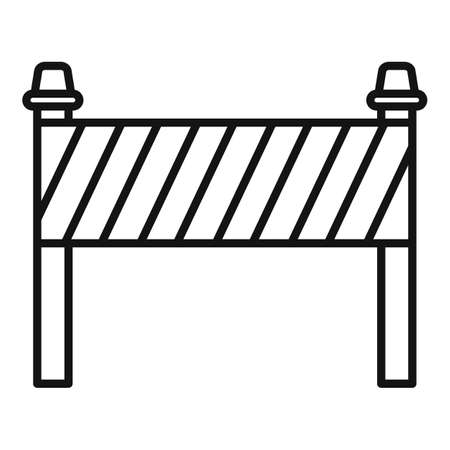 Road construction barrier icon, outline style Illustration