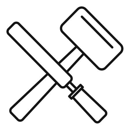 Reconstruction hammer tools icon, outline style