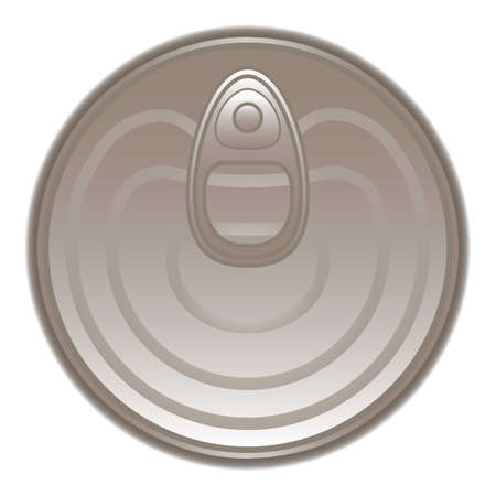 Top view tin can icon, cartoon style Illustration
