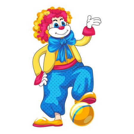 Clown play ball icon, cartoon style