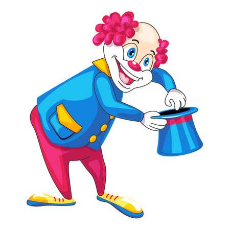 Clown top hat icon, cartoon style
