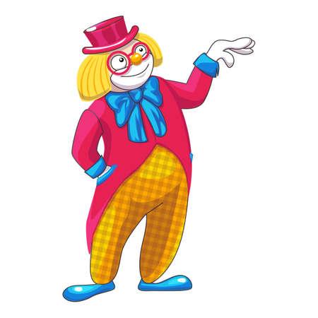 Magician clown icon, cartoon style