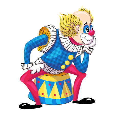 Clown on drums icon, cartoon style