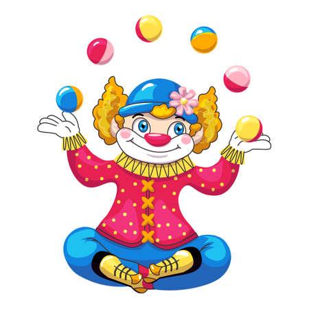 Juggler clown icon, cartoon style