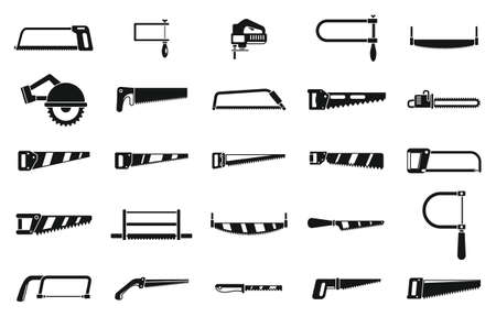 Saw tool icons set, simple style