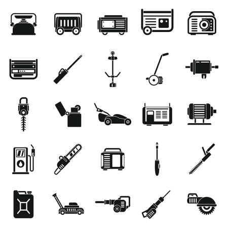 Garden gasoline tools icons set, simple style