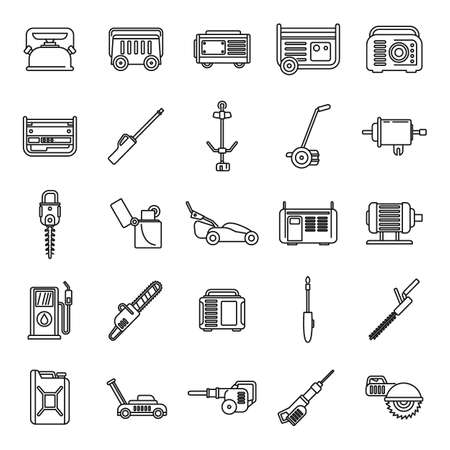 Modern gasoline tools icons set, outline style