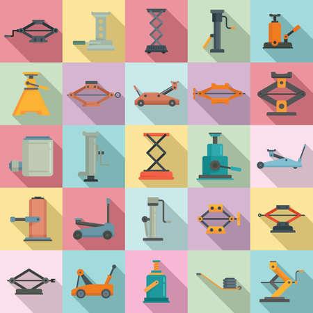 Jack-screw icons set, flat style Illustration