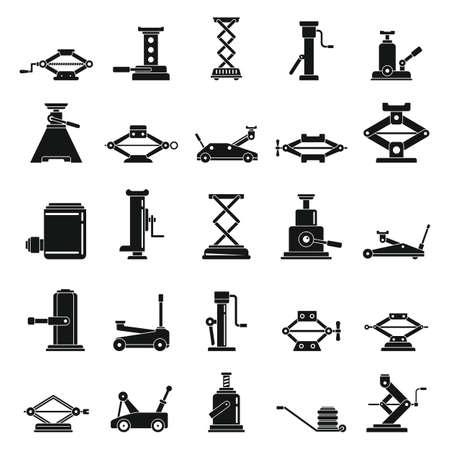 Car jack-screw icons set, simple style Illustration
