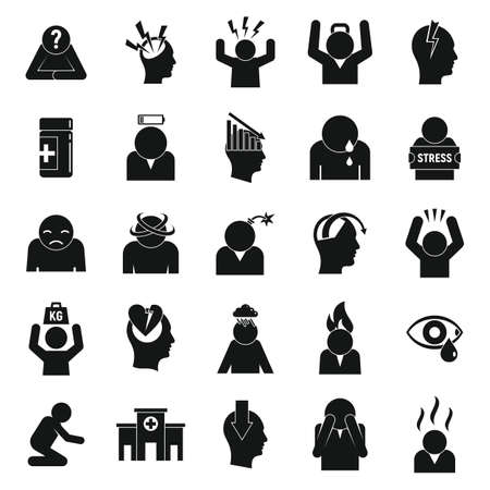 Stress icons set, simple style