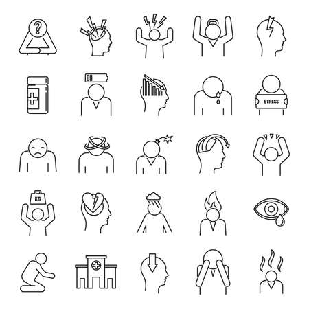 Stress emotion icons set, outline style