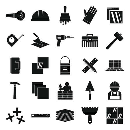 Tiler icons set, simple style