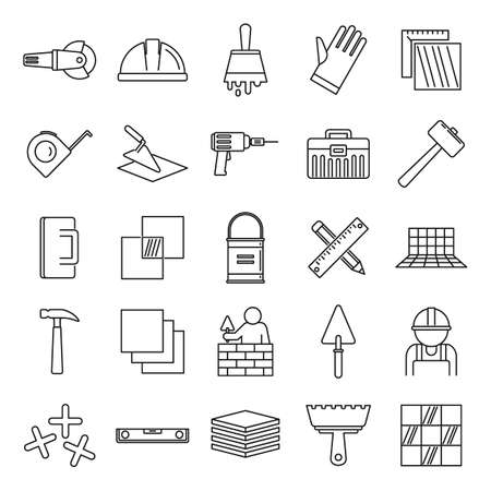 Tiler worker icons set, outline style Illustration