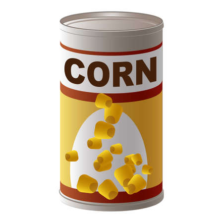 Corn tin can icon, cartoon style