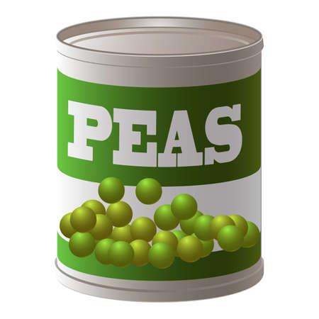 Peas tin can icon, cartoon style