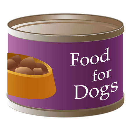 Dog food tin can icon, cartoon style