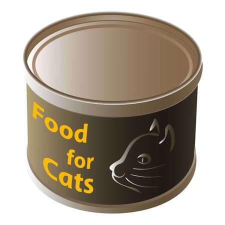 Cat food tin can icon, cartoon style
