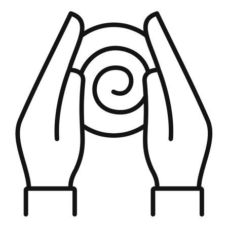 Hypnosis hands icon, outline style