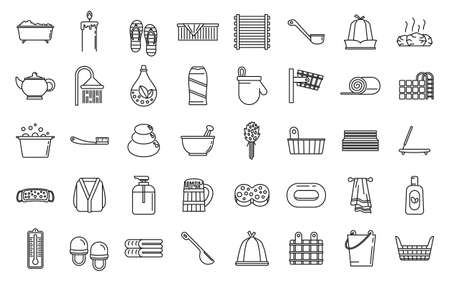 Sauna relax icons set, outline style