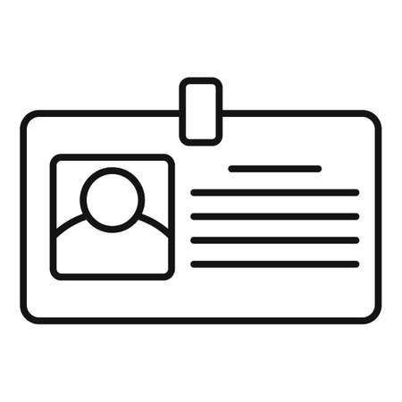 Tax inspector id card icon, outline style Vettoriali