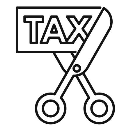 Scissors cut tax icon, outline style
