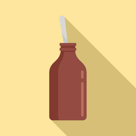 Cough syrup bottle icon, flat style