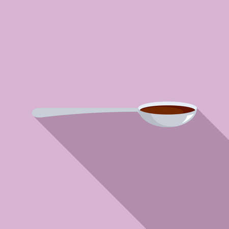 Cough syrup spoon icon, flat style