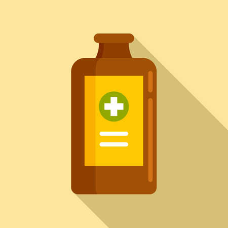 Healthcare cough syrup icon, flat style