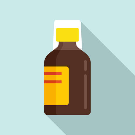 Baby cough syrup icon, flat style Иллюстрация