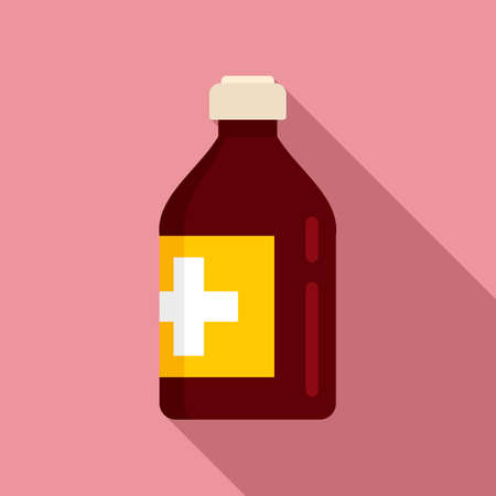 Vitamin cough syrup icon, flat style Иллюстрация