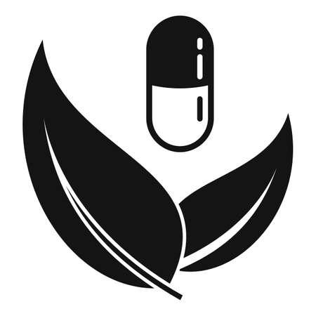 Capsule eco leaf icon, simple style 向量圖像
