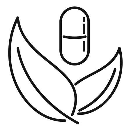 Capsule eco leaf icon, outline style 向量圖像