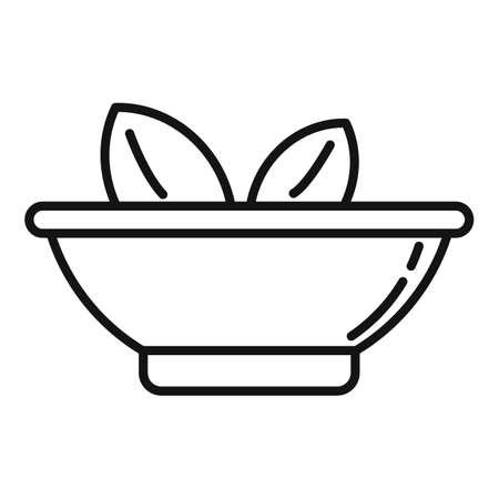 Garden leaf medical bowl icon, outline style