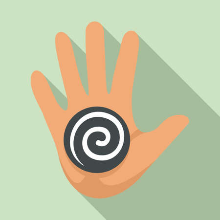 Hand spiral hypnosis icon, flat style Stock Illustratie
