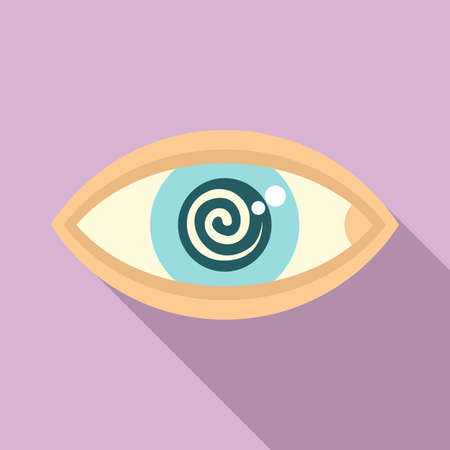Hypnosis eye therapy icon, flat style