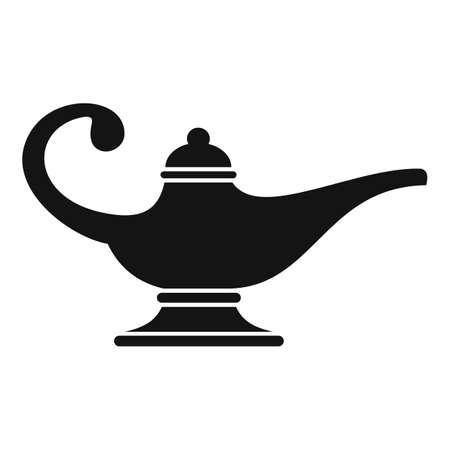 Aladin lamp icon, simple style