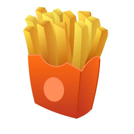 French potato fries icon, cartoon style Ilustracja
