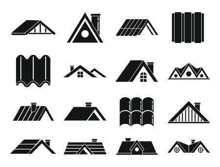 Roof icons set, simple style