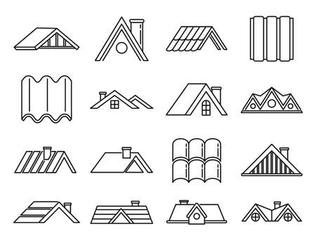 House roof icons set, outline style